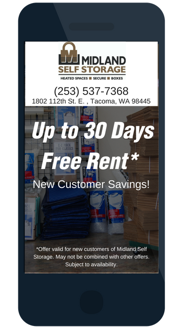 Rent Savings at Midland Self Storage in Tacoma, WA