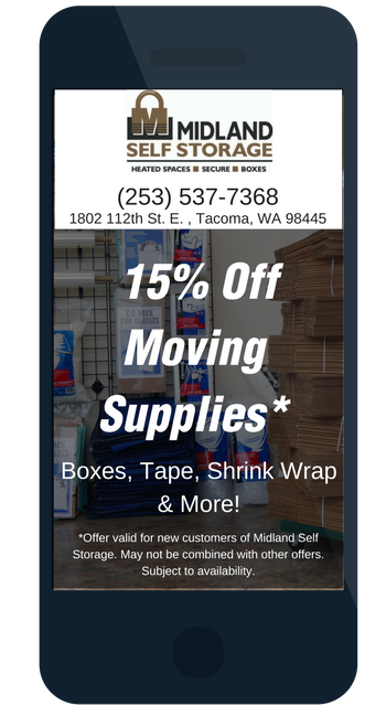 Save on moving boxes and moving supplies at Midland Self Storage in Tacoma, WA